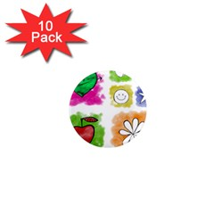 A Set Of Watercolour Icons 1  Mini Magnet (10 Pack)