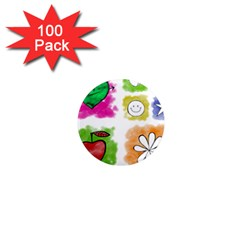 A Set Of Watercolour Icons 1  Mini Magnets (100 pack)