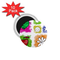 A Set Of Watercolour Icons 1 75  Magnets (10 Pack)