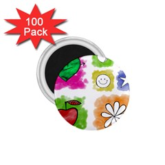A Set Of Watercolour Icons 1 75  Magnets (100 Pack)