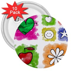 A Set Of Watercolour Icons 3  Buttons (10 Pack)