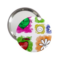 A Set Of Watercolour Icons 2 25  Handbag Mirrors