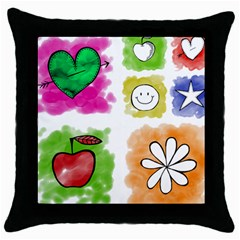 A Set Of Watercolour Icons Throw Pillow Case (black)