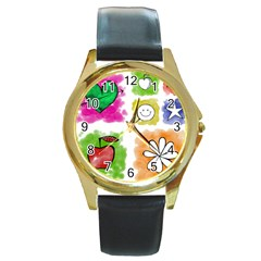 A Set Of Watercolour Icons Round Gold Metal Watch
