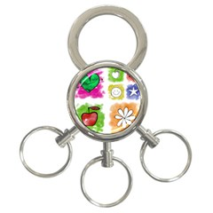 A Set Of Watercolour Icons 3 Ring Key Chains