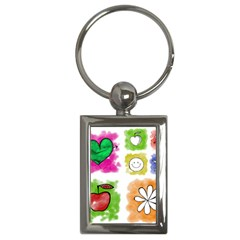 A Set Of Watercolour Icons Key Chains (Rectangle)