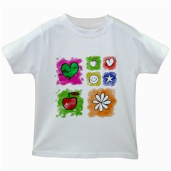 A Set Of Watercolour Icons Kids White T Shirts