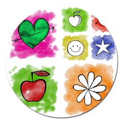 A Set Of Watercolour Icons Magnet 5  (round)