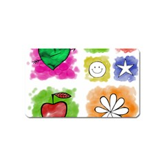 A Set Of Watercolour Icons Magnet (name Card)