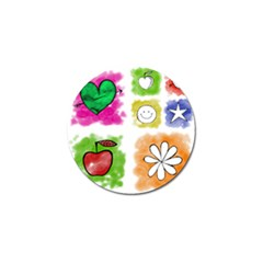 A Set Of Watercolour Icons Golf Ball Marker (4 Pack)