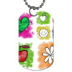 A Set Of Watercolour Icons Dog Tag (two Sides)