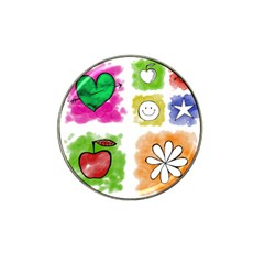A Set Of Watercolour Icons Hat Clip Ball Marker (4 pack)