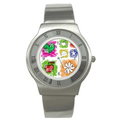 A Set Of Watercolour Icons Stainless Steel Watch