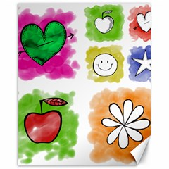 A Set Of Watercolour Icons Canvas 16  x 20