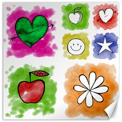 A Set Of Watercolour Icons Canvas 20  X 20