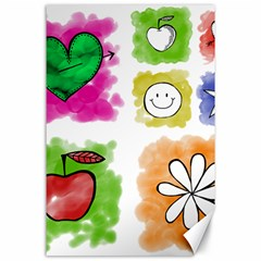 A Set Of Watercolour Icons Canvas 24  X 36