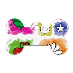 A Set Of Watercolour Icons Dog Tag Bone (two Sides)