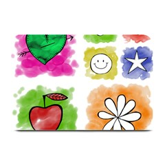 A Set Of Watercolour Icons Plate Mats