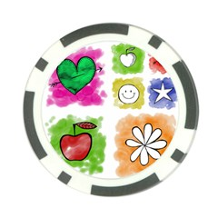 A Set Of Watercolour Icons Poker Chip Card Guard