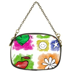 A Set Of Watercolour Icons Chain Purses (one Side)