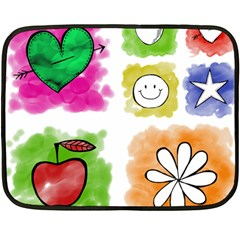 A Set Of Watercolour Icons Double Sided Fleece Blanket (mini)