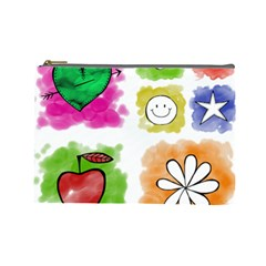 A Set Of Watercolour Icons Cosmetic Bag (large)