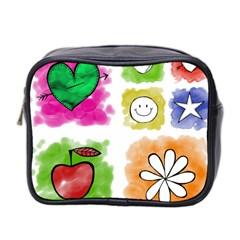 A Set Of Watercolour Icons Mini Toiletries Bag 2 Side