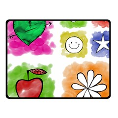 A Set Of Watercolour Icons Fleece Blanket (small)