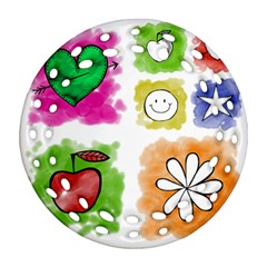 A Set Of Watercolour Icons Ornament (round Filigree)