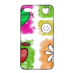 A Set Of Watercolour Icons Apple Iphone 4/4s Seamless Case (black)