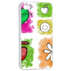 A Set Of Watercolour Icons Apple Iphone 4/4s Seamless Case (white)
