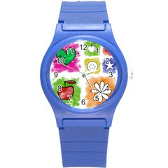 A Set Of Watercolour Icons Round Plastic Sport Watch (s)
