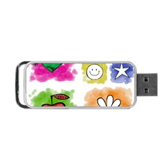 A Set Of Watercolour Icons Portable Usb Flash (one Side)
