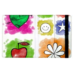 A Set Of Watercolour Icons Apple Ipad 3/4 Flip Case