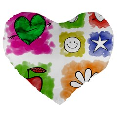 A Set Of Watercolour Icons Large 19  Premium Heart Shape Cushions