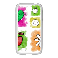 A Set Of Watercolour Icons Samsung GALAXY S4 I9500/ I9505 Case (White)
