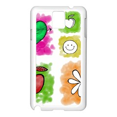A Set Of Watercolour Icons Samsung Galaxy Note 3 N9005 Case (White)