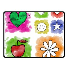 A Set Of Watercolour Icons Double Sided Fleece Blanket (small)