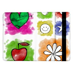 A Set Of Watercolour Icons Samsung Galaxy Tab Pro 12 2  Flip Case