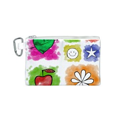 A Set Of Watercolour Icons Canvas Cosmetic Bag (s)