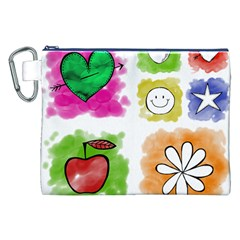 A Set Of Watercolour Icons Canvas Cosmetic Bag (XXL)
