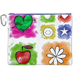 A Set Of Watercolour Icons Canvas Cosmetic Bag (xxxl)
