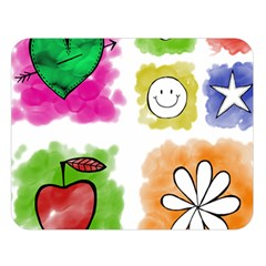 A Set Of Watercolour Icons Double Sided Flano Blanket (large)