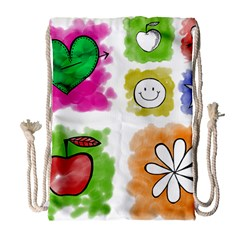 A Set Of Watercolour Icons Drawstring Bag (large)