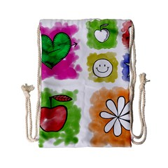 A Set Of Watercolour Icons Drawstring Bag (small)