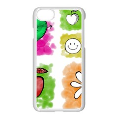 A Set Of Watercolour Icons Apple Iphone 7 Seamless Case (white)