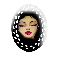 Girl Oval Filigree Ornament (Two Sides)