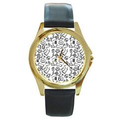 Body parts Round Gold Metal Watch