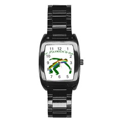 St. Patricks Stainless Steel Barrel Watch