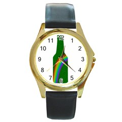 St. Patricks Round Gold Metal Watch